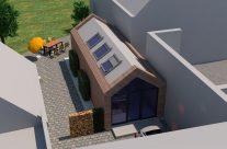 Entwurf einer kleinen Gewerbeeinheit in einem Innenhof